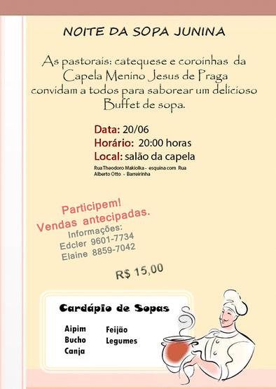 Noite da Sopa Junina Capela Menino Jesus de Praga - Curitiba PR